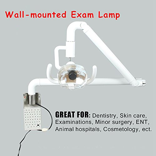 Dimmable Halogen LED Wall-Mounted Inspection Lamp - for Professional Use and Hobbies- Adjustable Lighted Surgical Medical Exam Light Cold Light Shadowless Halogen Lamps - 59in Arm White
