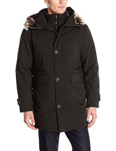 London Fog Men's Dodson Snorkel with Inner Bib and Attached Hood, Black, XX-Large ()