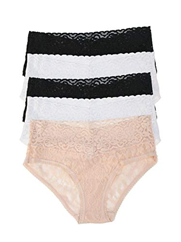 Felina Super Stretchy Lace Hipster | Low Cut Panty | 5-Pack (Medium, Basics Combo)
