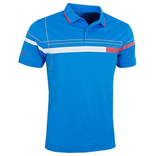 Callaway Golf 2018 Mens Opti-Dri X Range Geo Chest Blocked Print Polo Shirt Electric Blue Lemonade Large