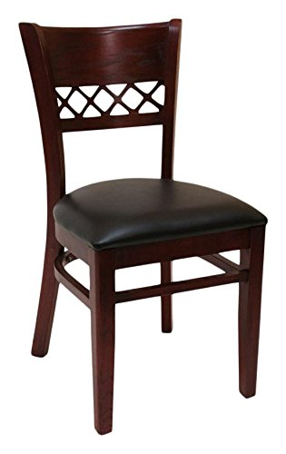 American Tables & Seating 561-DM-BP Cross Back Wood Chair, Black Pad Seat, 21'' x 19'' x 35'', Dark Mahogany by American Tables and Seating