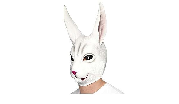 Máscara de conejo Careta de liebre Antifaz látex roedor Mascarilla animal Accesorio carnaval animales Cara rabbit: Amazon.es: Juguetes y juegos