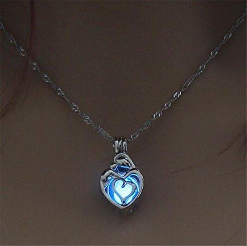 Tmrow 1pc Jewelry Fashion Hollow Heart Shaped Pendant Luminous Necklace,Sky Blue