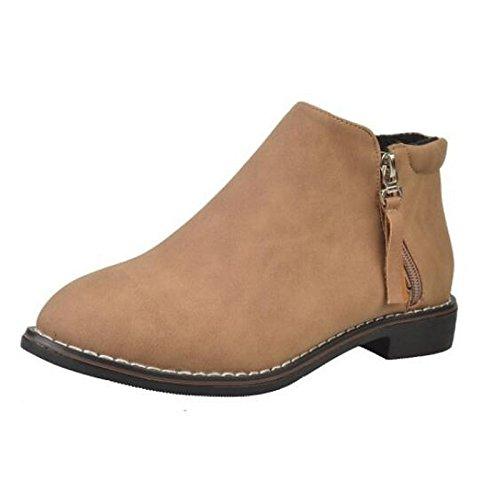 Black US6.5-7   EU37   UK4.5-5   CN37 Black US6.5-7   EU37   UK4.5-5   CN37 HSXZ Women's shoes Nubuck leather Winter Fall Combat Boots Boots Flat Round Toe Booties Ankle Boots for Casual Black Khaki