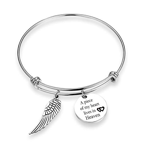 TOGON Memorial Bracelet A Piece of My Heart Lives in Heaven Sympathy Jewelry Gift Loss Memorial Gift Inspiraitonal Gifts (Piece of Heart BR)