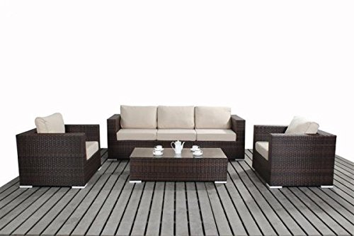 Polyrattan Lounge Gartenmöbel Sofaset Sofa Lissabon braun-meliert ...