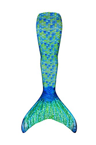 Fin Fun Mermaid Tail Only, Reinforced Tips, NO Monofin, Aussie Green, Size Child 8 - New Gb Training