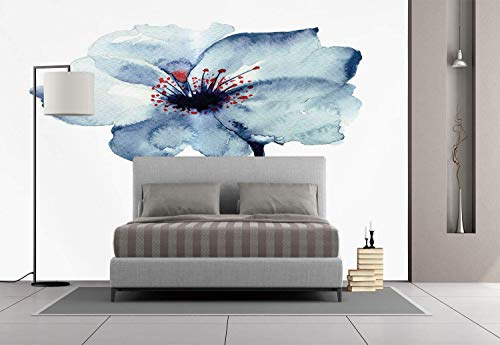 Funky Wall Mural Sticker [ Watercolor,Artistic Design of a Spring Flower with Blue Tones Birth of Life Theme Print Decorative,Pale Blue ] Self-Adhesive Vinyl Wallpaper/Removable Modern Decorating Wa