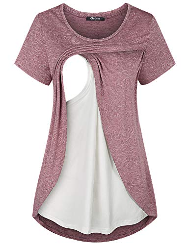 Quinee Maternity Nursing Tops, Women Crew Neck Short Sleeve Breastfeeding Shirts Fashion Tunic for Leggings Double Layer Comfortable Cotton Knitted Pumping Clothes Rose Red ()