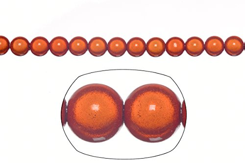 Miracle Beads, 8mm round, orange (packs of 20 gram/77 beads)