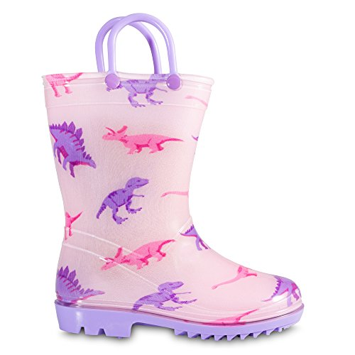 Chillipop Toddler 5-10 Girls Pink Dino PVC Rain Boot, Available in All Kid Sizes by Chillipop (Image #1)