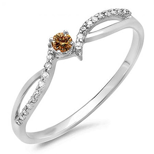 0.15 Carat (ctw) 10K Gold Champagne & White Diamond Crossover Split Shank Bridal Promise Engagement Ring