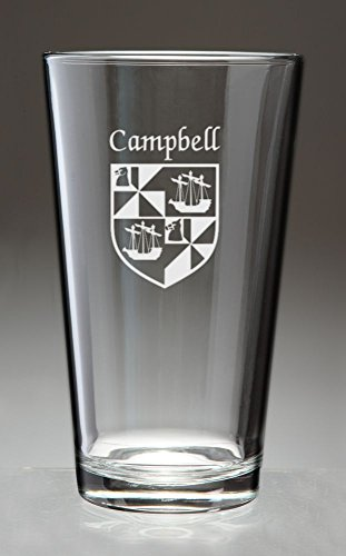 Campbell Irish Coat of Arms Pint Glasses - Set of 4 (Sand Etched) (Irish Arms Coat Family)