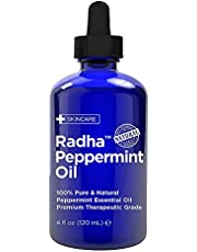 Radha Beauty Peppermint Essential Oil 118mL - 100% Pure & Therapeutic Grade, Steam Distilled for Aromatherapy, Fresh Minty Scent, Mental Focus, Headaches, Congestion