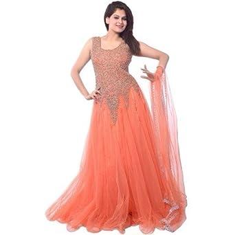 Libra Enterprise Women s Soft Net Semi-stitched Gown (Orange f9bd7f7ab
