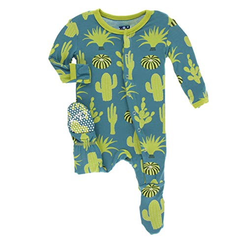 Seagrass Apparel - Kickee Pants Little Boys Print Footie with Snaps - Seagrass Cactus, 9-12 Months