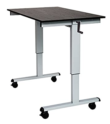 MSEC by Luxor, Crank Adjustable Stand Up Desk 48, Gray Frame, Black Desk Top