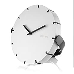 Guzzini 'Move Your Time' Adjustable Clock for Wall or Tabletop, 9-3/4, Durable Acrylic, Sleek Minimalist Design, White, Black