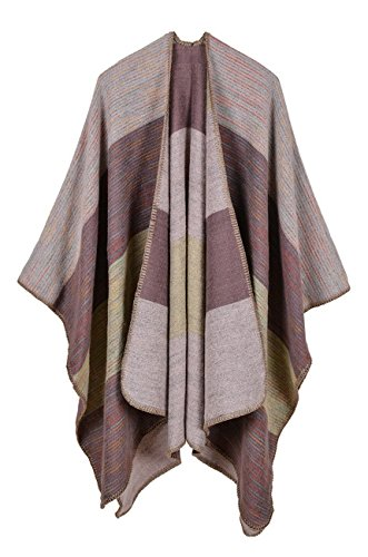 Women's Wide Stripes Cashmere Blanket Ponchos Color Block Faux Pashmina Shawls Capes Scarf Cardigans Khaki One Size