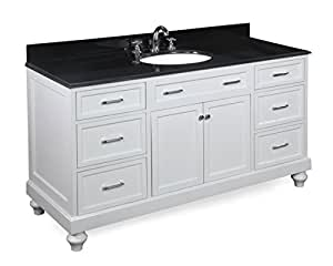 """Kitchen Bath Collection KBC511WTBK Amelia Single Sink Bathroom Vanity with Marble Countertop, Cabinet with Soft Close Function and Undermount Ceramic Sink, Black/White, 60"""""""