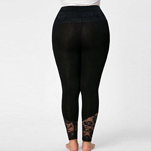 Size Leggings CICIYONER Pant Sport Elastic Plus Lace Negro Sport Pants Mujeres tfBwq7BO