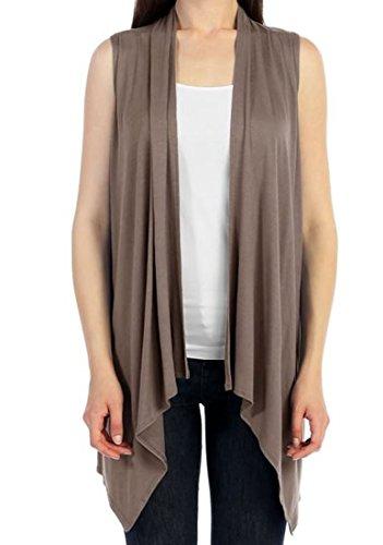 CardigansforWomen Solid Color Sleeveless Asymetric Hem Open Front Drape Long Cardigan Vest -Mocha (Large)