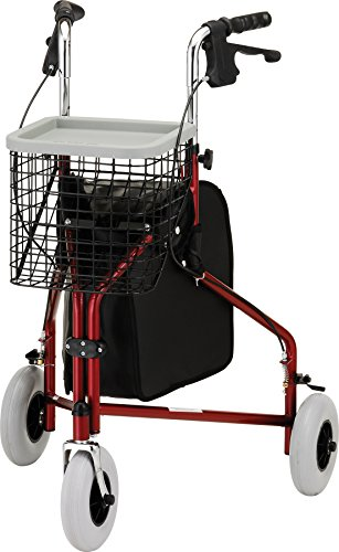 NOVA Traveler 3-Wheeled Rollator Walker, Red by NOVA Medical Products