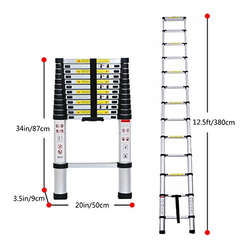 12 5 Extension Telescoping Aluminum Ladder : Lifewit ft en telescoping ladder aluminum