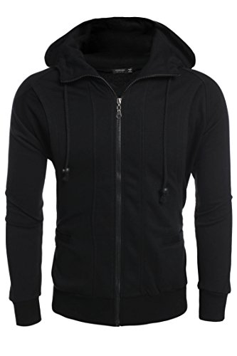 Coofandy Men's Long Sleeve Full-Zip Hooded Sweatshirt, Black, (Hooded Zip)