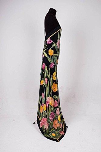 Abito con Colori Seta sera della Seta mano I da nero a tulipani dipinta HqatZ1x