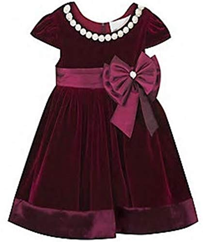 Rare Editions Big Girls Velvet Dress Burgundy 16