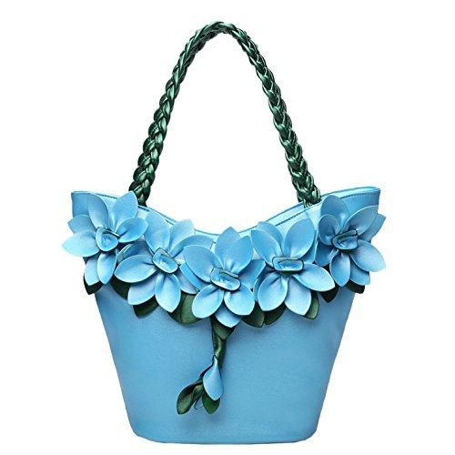 Sac Femme Lightblue à Élégant Automne Capacité Grande AJLBT Pour Bandoulière Mode Sac à Sac Fleur Main Couture Tisser ERzTndqw