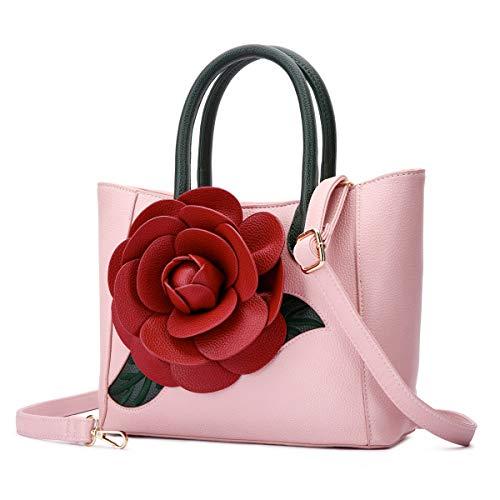 - Women Handbag 3D Flower Seris PU Leather Purse Tote Medium Bag By Vanillachocolate (Medium, Grain Light Pink)