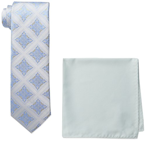 - Steve Harvey Men's Tall Size Extra Long Medallion Necktie and Solid Pocket Square, White, Large