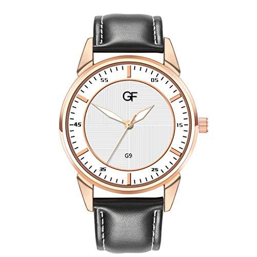 XBKPLO Quartz Watches Men Sports Gentleman Stripe Dial Rose Gold Luminous Analog Wrist Watch Leather Strap