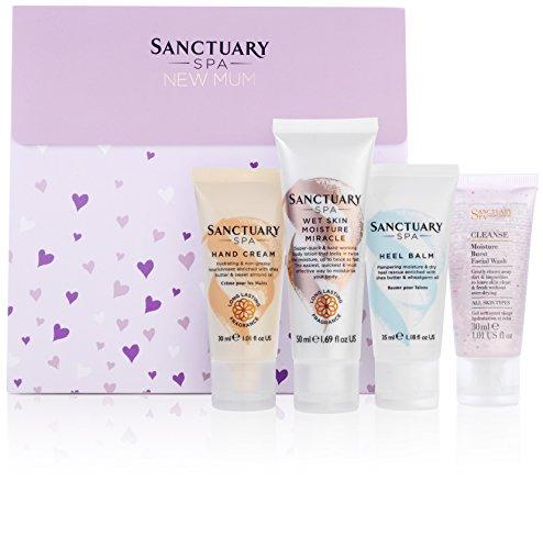 Sanctuary Spa Geschenkset für Babyparty, mit feuchter Haut Feuchtigkeitspflege, Fersenbalsam, Handcreme und Gesichtsreinigung