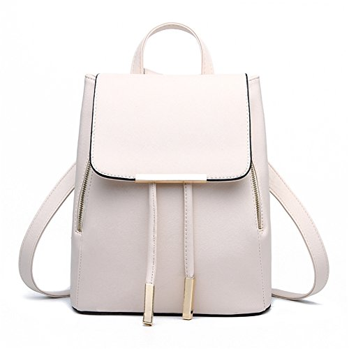 Z-joyee Casual Purse Fashion School Leather Backpack Shoulder Bag Mini Backpack for Women & Girls,Beige white