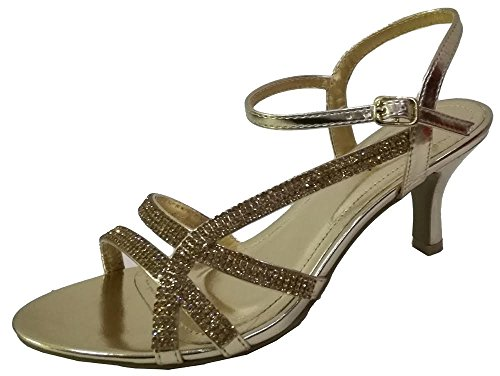 Krasceva Ladies Womens Diamante Low Heel Evening Sandals Shoes Gold