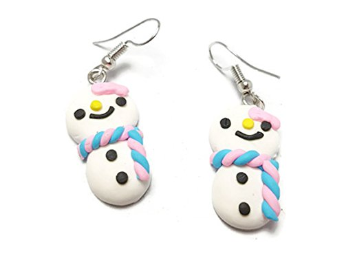CHADADA Cute Handmade Mini Cake Polymer Clay Dangle Earrings, Snnowman (Blue, Pink) ()