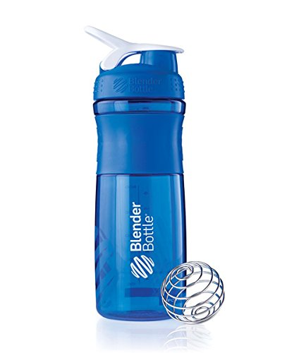 BlenderBottle SportMixer Tritan Grip Shaker Bottle, Blue/White, 28-Ounce