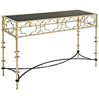 Deco 79 97710 Metal Glass Console Table, 48 x 30, White/Black