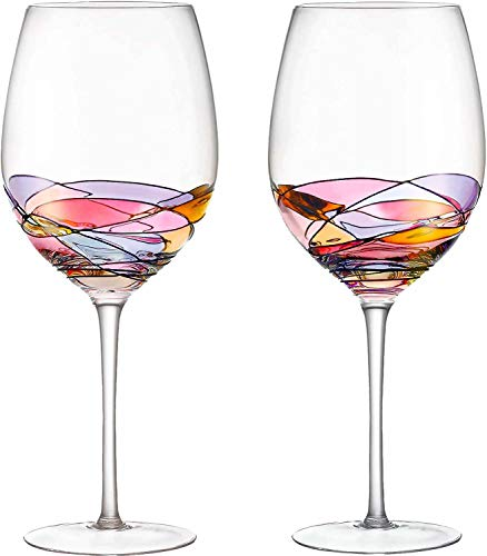 (DAQQ Red Wine Glasses Set of 2 Hand Painted Designed with Strong Presence Inspired by the 'Duomo di Milano', Fine Addition To Any Wine Decanter, Unique Gift for Wine Enthusiasts)