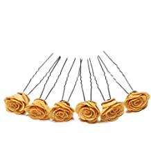 6pcs Rose Flower Waved U Shaped Hair Pins Grips Bobby Pin Salon Wedding Bridesmaid Accessory