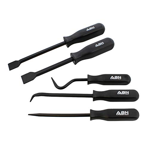 ABN | Hook and Pick Set - 5 Piece Pick Hook and Scraper Set Mechanic Hand Tools Automotive Picks Hooks Scraper Tool Set