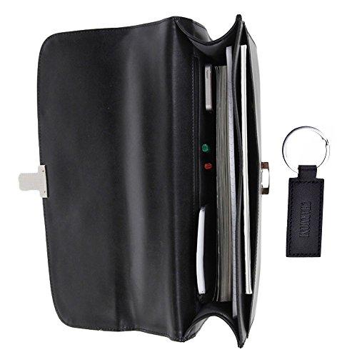 Charmoni–Maletín con un compartimento, de nailon y cuero de piel de becerro Negro - negro