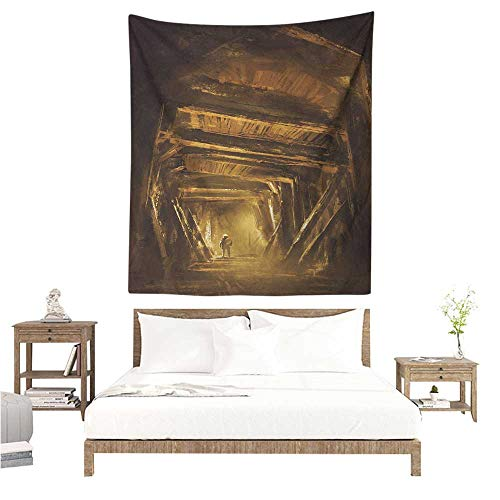 WilliamsDecor Polyester Tapestry Cartoon Art of a Painting of Abandoned Mine with Explorer Mystic Adventure Print 51W x 60L INCH Suitable for Bedroom Living Room Dormitory