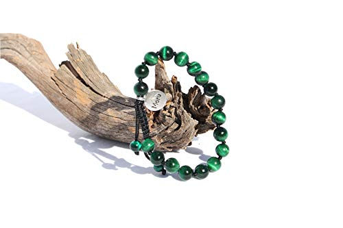 (MeruBeads Premium Mala Adjustable Tiger's Eye Green Bracelet - Mala Beads Bracelet - Tigers Eye Bracelet - Adjustable Tigers Eye Bracelet for Men - Mala Bracelet for Men - Green Bracelet for Men)
