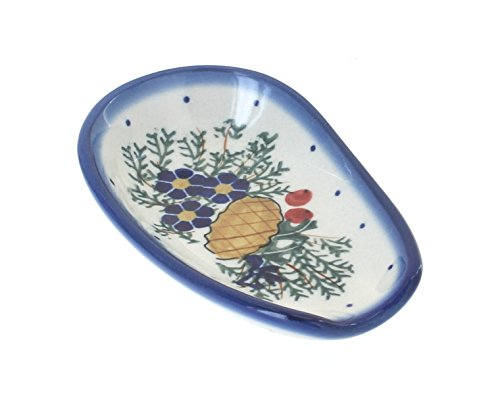 (Blue Rose Polish Pottery Pinecone Small Spoon Rest)