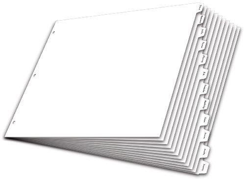 Cardinal Write'n Erase Tab Divider, 12-Tab, 11 x 17 Inches, White (84272) (Divider 12 X Divider)
