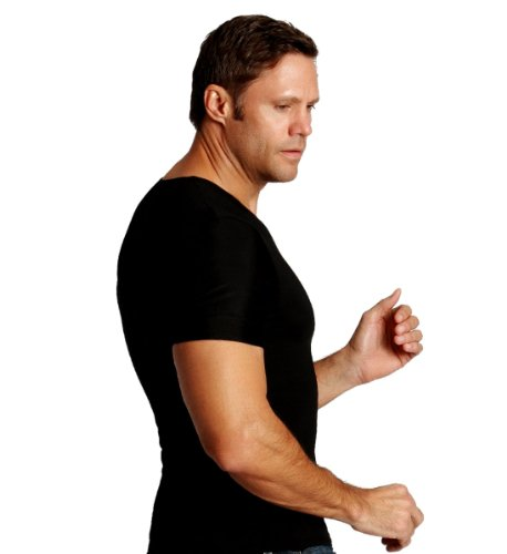 Insta Slim Mens Compression Crew-Neck T-Shirt (INT), The Magic Is In The Fabric! (3X-Large, Black) by Insta Slim (Image #2)